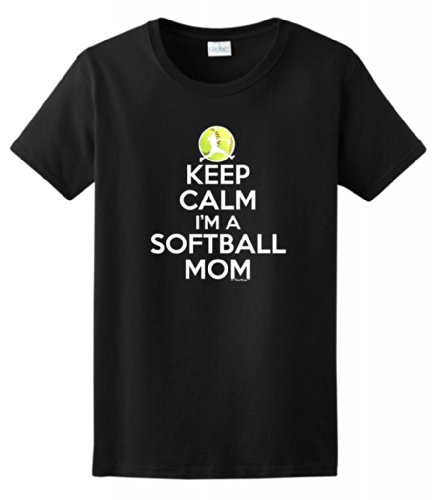 Keep Calm Softball Ladies T Shirt