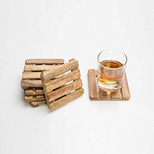 Rusticity Cool Wood Coaster Set of 6 - Linear Cuts | Handmade | (4x4in) -
