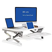 Ergoneer Preassembled Sit-stand Elevating Monitor Workstation | Dual Monitor Wide Standing Desk Converter | Height Adjustable Desktop Riser with Squeeze Handles (White) (89)