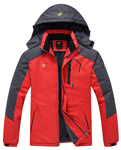 QPNGRP Mens Waterproof Fleece Ski Jacket Windproof Winter Snow Coat