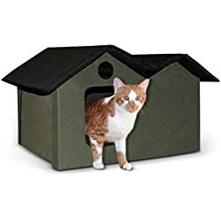 "K&H Pet Products Outdoor Kitty House Extra-Wide (unheated) Olive/Black 26.5"" x 15.5"" x 21.5"""