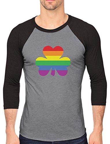 St.Patrick's Lucky Charm Rainbow Clover Gay 3/4 Sleeve Baseball Jersey Shirt Large Black/Gray -