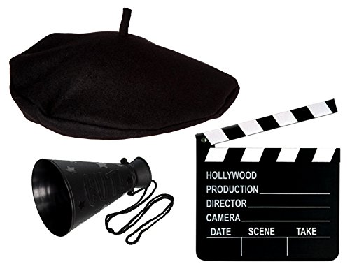 Directors Costume Hollywood Movie 3 Piece Set Includes Directors Beret (1), Movie Clapper Board (1), Megaphone (1) - Movie Directors Costume
