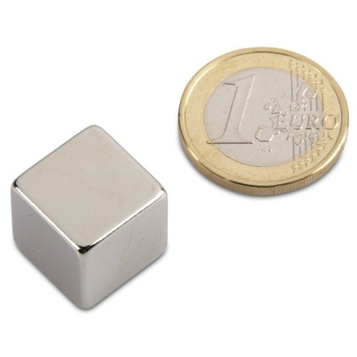 Wü rfelmagnet 15,0 x 15,0 x 15,0 mm N44 Nickel - hä lt 17 kg, Neodym NdFeB Supermagnet extreme Haftkraft, Powermagnet Haftmagnet, Magnetwü rfel 15 mm magnets4you WM-15x15x15-N
