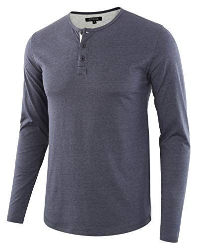 HETHCODE Men's Classic Comfort Soft Regular Fit Long Sleeve Henley T-Shirt Tee C.Blue/H.Oatmeal XL