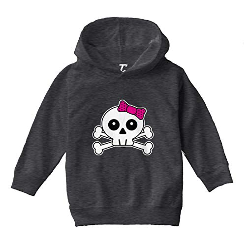 (Tcombo Skull with Pink Bow - Crossbones Toddler/Youth Fleece Hoodie (Charcoal, 4T (Toddler)))