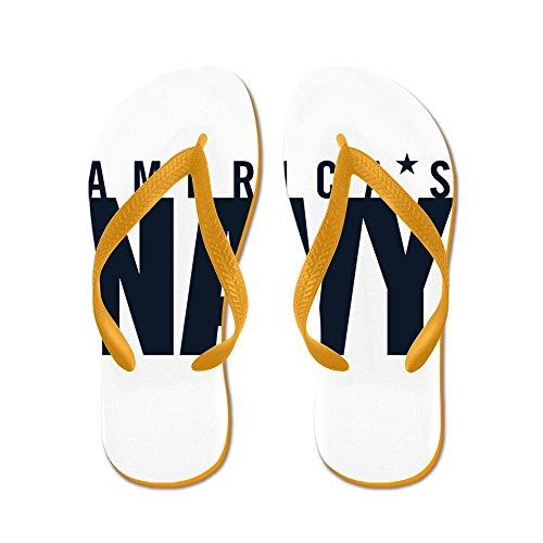 Cafepress Americas Navy Emblem - Flip Flops, Roliga Rem Sandaler, Strand Sandaler Apelsin