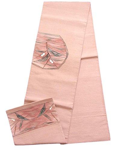 夢成り立つスペースリサイクル 袋帯 紬 植物文 正絹 お太鼓柄