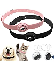 Finyosee 2 Pcs Silicone Protective AirTag Anti-Lost Dog and Cat Collar Necklace, Adjustable Pet Loop Holder for Air_tag, for Apple Locator Tracker Anti-Lost Device