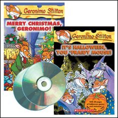 Geronimo Stilton Holiday Audio Pack (2 CDs & 2 Books) (#11 It's Halloween, You 'Fraidy Mouse!; #12 Merry Christmas, Geronimo!) -