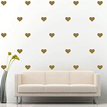 Hearts Wall Decal Vinyl Sticker Wall Pattern Decor (Gold 3