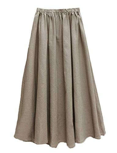 Soojun Women's Solid Cotton Linen Retro Vintage A-line Long Flowy Skirts, Khaki, Medium Petite
