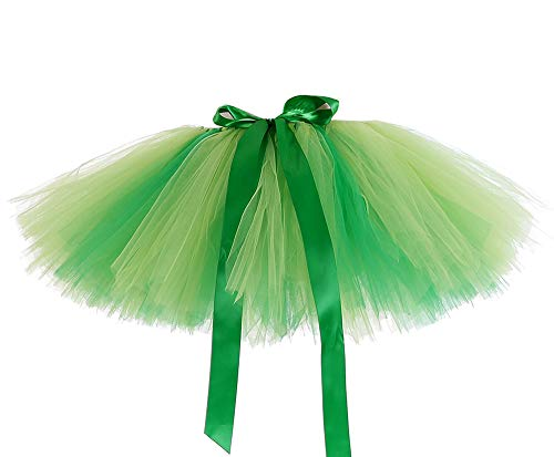 AQTOPS Adult Fluffy Saint Patrick's Day Tutu Skirt Running Layers Green -