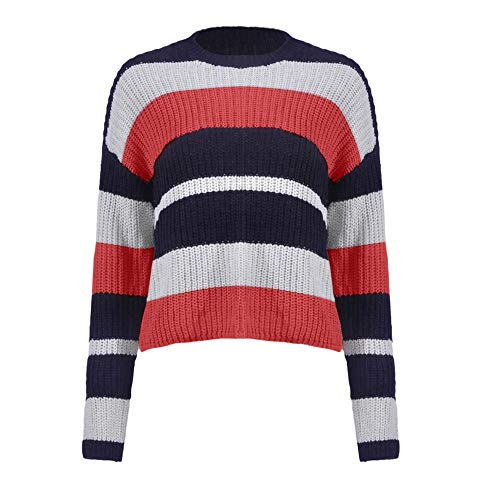 Liraly Sweatshirts For Women New Fashion Women Winter Fashion Long Sleeve Knitted Patchwork Tops Loose Sweater Blouse Shirt Blouses(Red ,US-8 /CN-L) by Liraly (Image #6)
