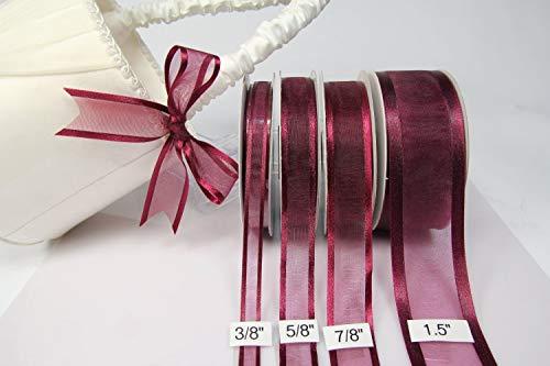 (Burgundy Organza Ribbon With Satin Edge-25 Yards X 5/8)
