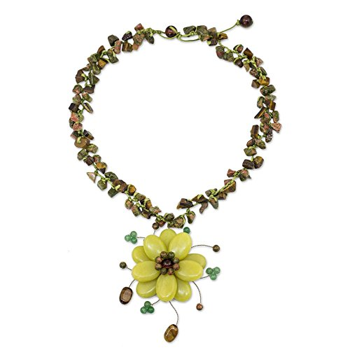 NOVICA Multi-Gemstone Flower Choker Necklace with Tiger's Eye and Unakite, 16.25