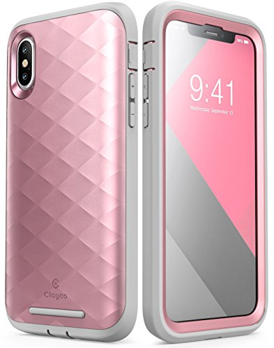 Clayco iPhone Xs Case, iPhone X Case, [Hera Series] Full-Body Rugged Case with Built-in Screen Protector for Apple iPhone Xs 2018/iPhone X 2017 Release (Rosegold)