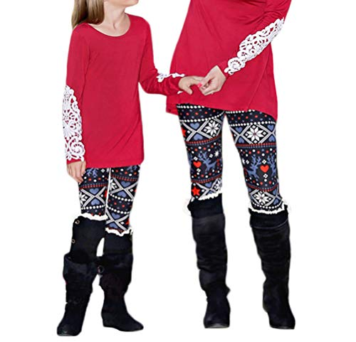 Mother Daughter Outfits Christmas Cartoon Print Family Matching Leggings Tights Pants (Reindeer-Mother, XL) ()