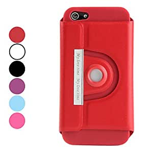 Buy 360 Degrees Rotatable Design PU Leather Case for iPhone 5 (Assorted Colors) , Purple