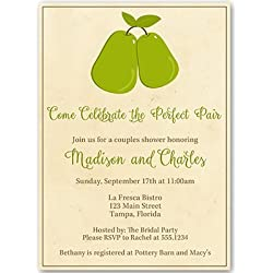 Bridal Shower Invitations, Couples Shower, Wedding, Perfect Pair, Perfect Pear, Stock the Kitchen, Recipe, Housewarming, Personalized, Set of 10 Printed Invites with White Envelopes, Perfect Pair