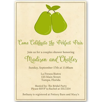 Bridal Shower Invitations, Couples Shower, Wedding, Perfect Pair, Perfect Pear, Stock the Kitchen, Recipe, Housewarming, Personalized, Set of 10 Printed Invites with White Envelopes, Perfect Pair Perfect Pair Wedding Invitations