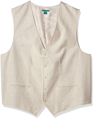 Cubavera Men's Big and Tall Easy Care Linen Blend Vest, Khaki, 3X by Cubavera