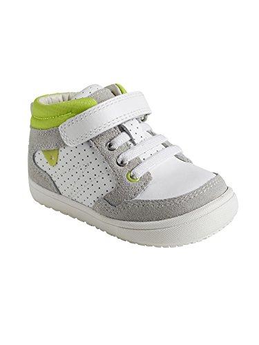 Vertbaudet Hohe Sneakers für Jungen, Leder Weiß
