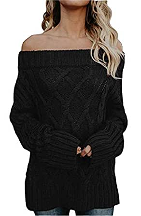 FEIYOUNG Women Long Sleeve Slim Fit Cable Basic Off Shouder Pullover Sweater Knit Jumper (Small, Black)