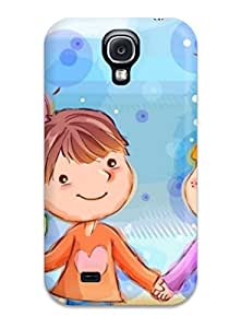 Galaxy S4 Case, Premium Protective Case With Awesome Look - Cute Cartoons Kids Smiling Holding Heart Flowers