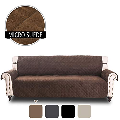 RHF Faux Suede Cover for Extra-Wide Couch, Sofa Cover, Extra-Wide Couch Cover for Dogs, Extra-Wide Couch Covers for Pets, Couch Slipcover, Machine Washable (Sofa-Extra Wide: Chocolate)
