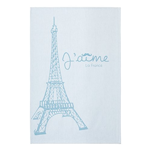 COUCKE French Cotton Jacquard Towel Paris Collection, Eiffel Tower, 20-Inches by 30-Inches, Turquoise (Linen Country Cottage Collection Bed)
