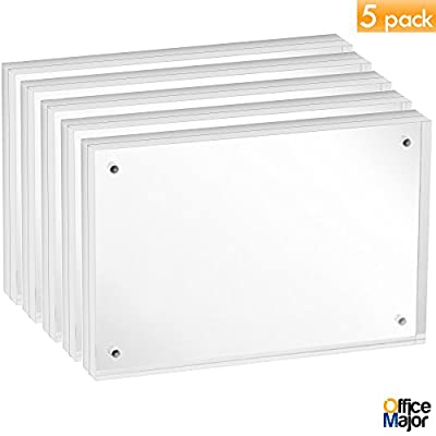 OfficeMajor Acrylic Picture Frames 4x6 - Magnetic Photo Frames Double Sided Picture Frames For Desk (Pack Of 5)
