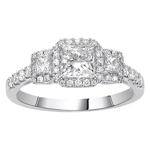 (14K White Gold 1.25ct TDW Princess Cut Diamond Halo Engagement Ring (G-H, SI1-SI2))
