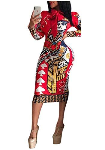 Women Bodycon Club Dress Long Sleeve Dashiki African Print Midi Dresses Red M