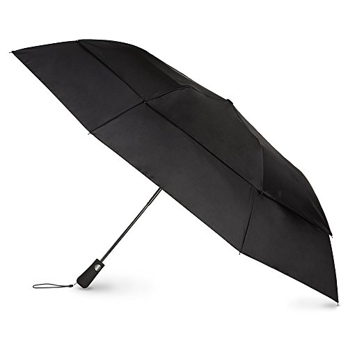 Totes Blue Line Golf-Size Vented Canopy Compact Umbrella, Black, One Size