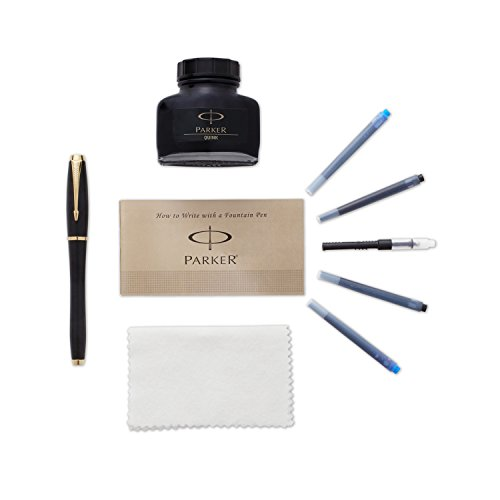 Parker Urban Black and Gold Fountain Pen kit with 4 Ink (1760841)