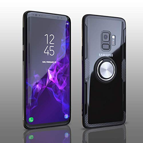 Samsung Galaxy S9 Case | Transparent Crystal Clear Cover | Slim Silicone Rubber Bumper Frame | 360° Rotating Magnetic Finger Ring | Kickstand | Compatible with Samsung Galaxy S9 - Black Black Rubber Crystal Case