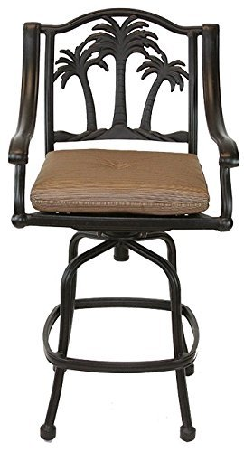 Palm Tree Outdoor Patio Set 4pc Swivel Barstools 30 H Dark Bronze Cast Aluminum, Walnut Cushions