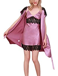 Dolamen Women Nighties Satin Dressing Gown Kimono Nightwear Nightdress