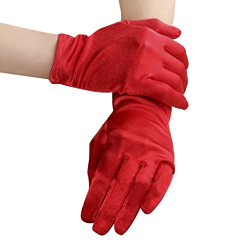 Womens Elegant Opera Short Satin Gloves Ladies Classic Banquet Party Wedding Colorful Gloves Special Occasion Halloween Fancy Dress Party Evening Costume Gloves Wrist Length ()