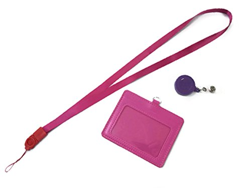k-56-vertical-style-pu-leather-id-badge-holder-with-16-inch-detachable-neck-strap-lanyard-pink-hl1