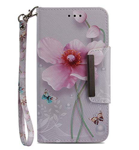 JanCalm iPhone 6 6S Wallet Case [Folio Cover][Stand Feature] Premium [Flower] Pattern iPhone 6/6S (4.7 inch) Credit Card Flip Case Protective PU Leather with Card Slot + Wrist Strap + - Custom Leather Case
