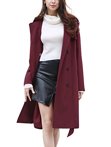 Double Breasted Long Sleeve Coat - 1