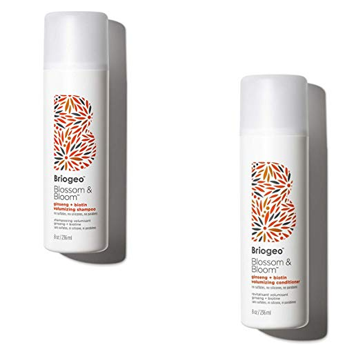 Volumizing Ginger Shampoo - Briogeo - Blossom & Bloom Ginseng + Biotin Volumizing Shampoo/Conditioner, Fortified with Follicle Stimulating Ginger, Ginseng, and Biotin for Full and Healthy Hair, 8 oz (Shampoo + Conditioner)