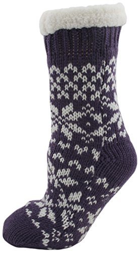 Ladies Fairisle Fleece Lined Chunky Slipper Socks Purple