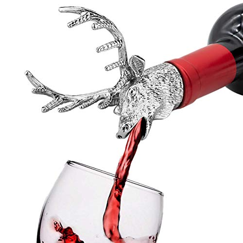 FREEMASTER Wine Pourer and Stopper Wine Aerators Stainless Deer Stag Head Wine Pourer Stags Head Bottle Stopper (Silver white) Cork Bottle Buddy Wine Stopper
