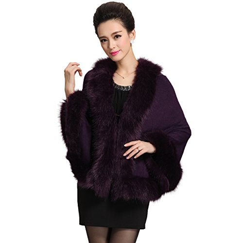 Caracilia Women Bridal Faux Fur Shawl Wraps Cloak Coat Sweater -