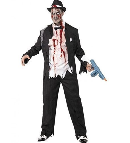 Mens Black or White 1920s Corpse Dead Zombie Gangster Halloween Fancy Dress Costume Outfit (Large (42-44