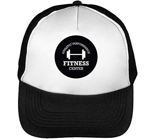 Sport Badge Fitness Center Gorras Hombre Snapback Beisbol Negro Blanco