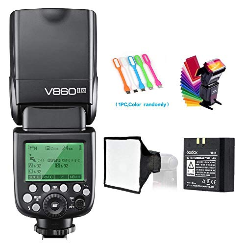 Godox V860II-S High-Speed Sync GN60 1/8000 2.4G TTL Li-ion Battery Camera Flash Speedlite Light Compatible for Sony Camera & USB LED